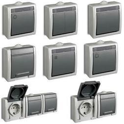 Aufputz Lichtschalter Schuko Steckdose zweifach, dreifach IP