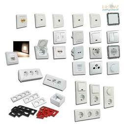 DELPHI Schalterprogramm weiß, Schalter, Dimmer & Steckdosen