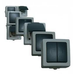 Feuchtraum Schalter Programm Aufputz Steckdosen Doppelsteckd
