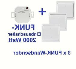 Funk-Set 1 Einbauschalter UP 2000W 3x Wand-Sender Licht-Scha