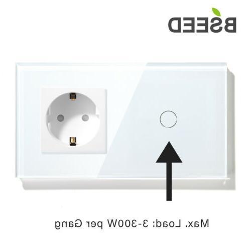 Touch Lichtschalter Wand EU Steckdose Weiß 1//2//3 Fach LED Licht Glas Panel