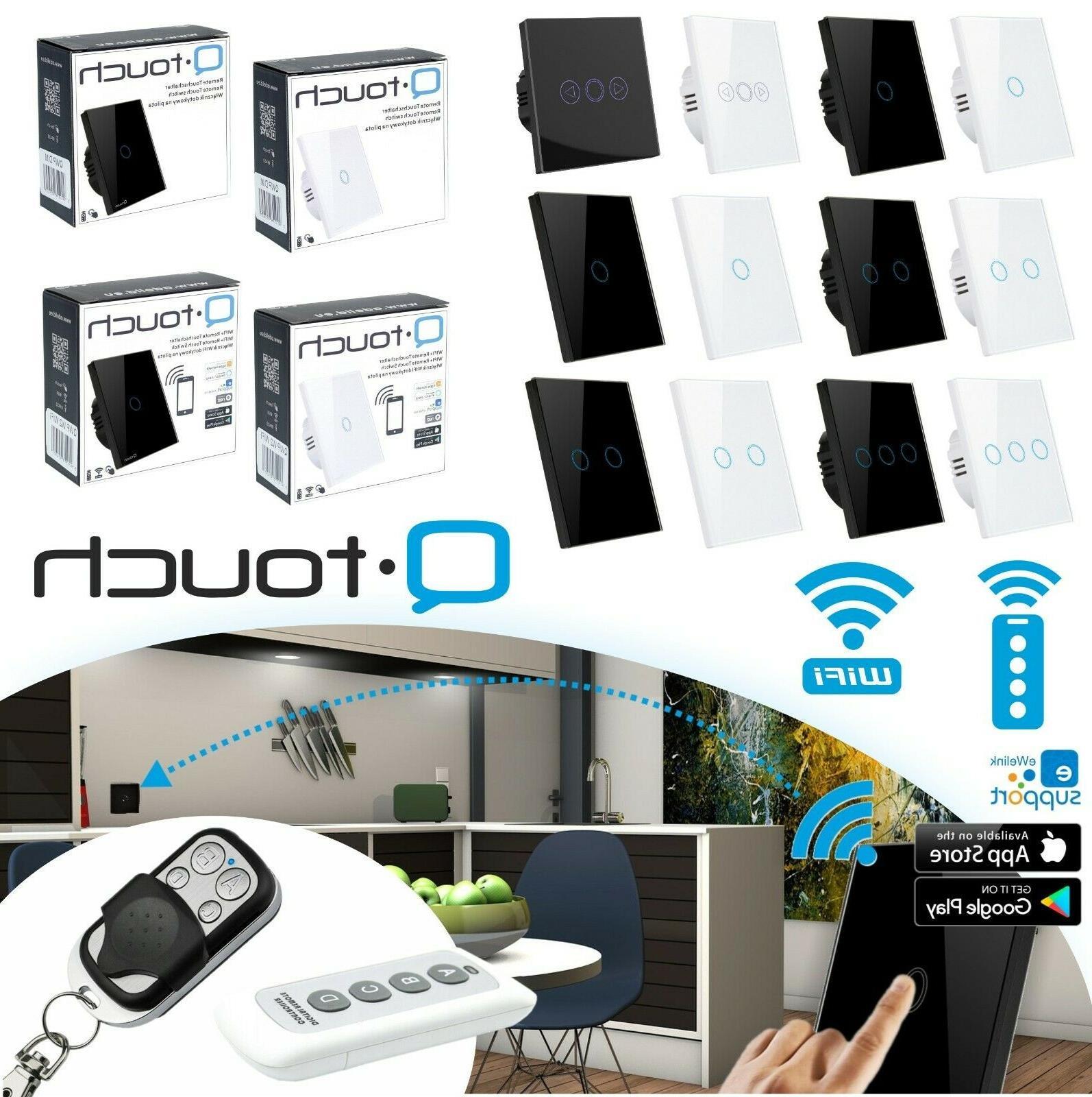 glas touch lichtschalter fernbedienung wifi wei schwarz
