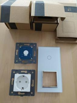 LIVOLO Lichtschalter und 2 Fach Steckdose Glasrahmen VL-C701
