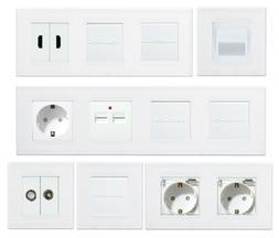 LUX Lichtschalter Touch Steckdose Wechsel Serienschalter Wei