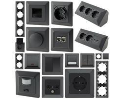MILOS Steckdose, Lichtschalter, Dimmer, USB, CAT6, Taster, R