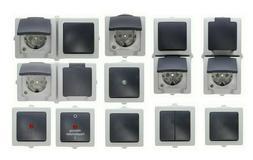 Kopp NAUTIC Feuchtraum grau Aufputz Schalter, Steckdose, Kom