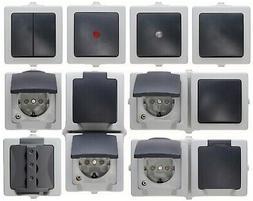 Kopp Nautic grau Feuchtraum IP44 Schalter Steckdosen 2-fach