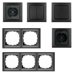 Unterputz Lichtschalter Schuko Steckdosen Rahmen schwarz Pre