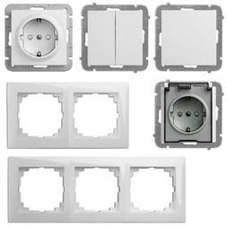 Unterputz Lichtschalter, Schuko Steckdosen und Rahmen weiß