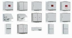 Jung WG600 Aufputz IP44 grau, Steckdosen / Schalter / Kombin